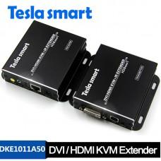 Tesla 100M HDBaseT DVI / HDMI KVM + IR Extender